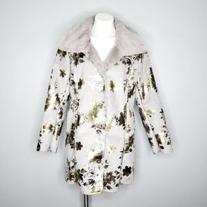 Northstyle Shiny Gold Floral Faux Shearling Jacket
